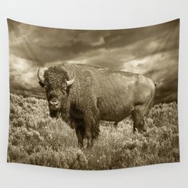 American Buffalo in Sepia Tone Wall Tapestry