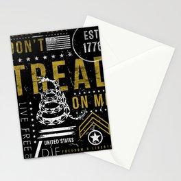 Gadsden Flag Don't Tread on Me Revolution USA Military Rattlesnake Flag Grunge Distress Stationery Cards