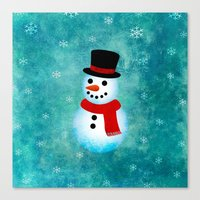 snowman Canvas Prints featuring snowman by vitamin