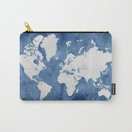 Navy blue watercolor and light grey world map with countries (outlined) Carry-All Pouch