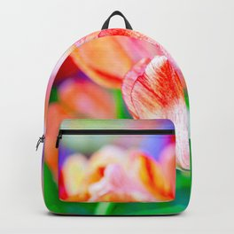 Beautiful Fresh Tulip Flowers On A Flowerbed Backpack