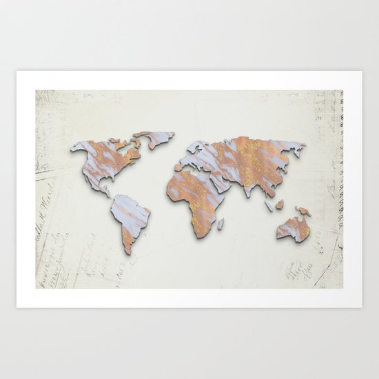 Rose Gold Marble Map - RoseGold World II Art Print