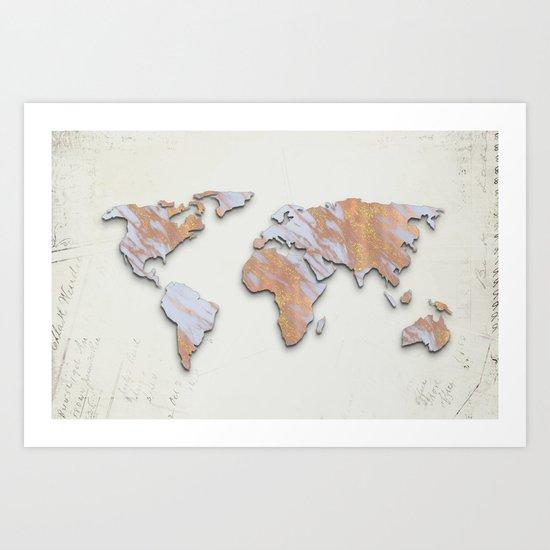 Rose Gold Marble Map - RoseGold World II Art Print