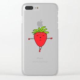 Cute Kawaii Yoga Strawberry Illustration Clear iPhone Case