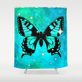 Bluish Green Butterfly with Stars Shower Curtain