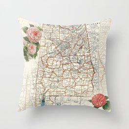 Alabama map with Camelias Throw Pillow