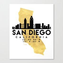 SAN DIEGO CALIFORNIA SILHOUETTE SKYLINE MAP ART Canvas Print