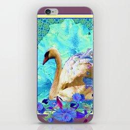 DECORATIVE SWAN BLUE FLOWERS WILDLIFE  NATURE ART iPhone Skin