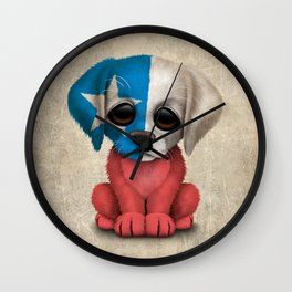 Cute Puppy Dog with flag of Chile Wall Clock