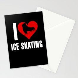 I Love Ice Skating Heart Skater Skate Hockey Stationery Cards