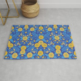 Bright Blue & Yellow Flowers Rug