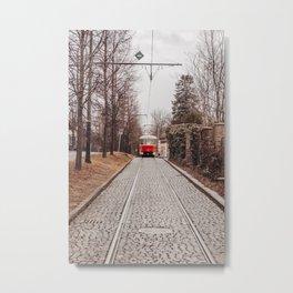 Trams of Prague - colourful street photo   Czech Republic street photography art print Metal Print