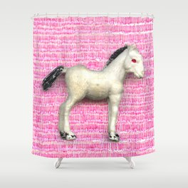 My little foal in a sea of pink Shower Curtain