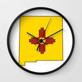 New Mexico Map with State Flag Wall Clock