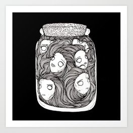 Bottled up emotions (black) Art Print