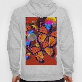 DECORATIVE MONARCH BUTTERFLIES & SOAP BUBBLES  ON TURMERIC  COLOR ART Hoody