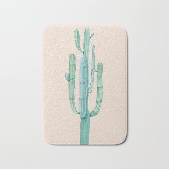 Solo Cactus Mint on Coral Pink Bath Mat