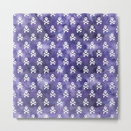 Purple Watercolor Skulls Metal Print
