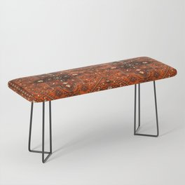 N151 - Orange Oriental Vintage Traditional Moroccan Style Artwork Bench