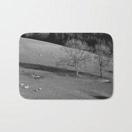 Grazing sheep and trees. Derbyshire, UK. Bath Mat