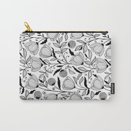 Black white flowers Carry-All Pouch