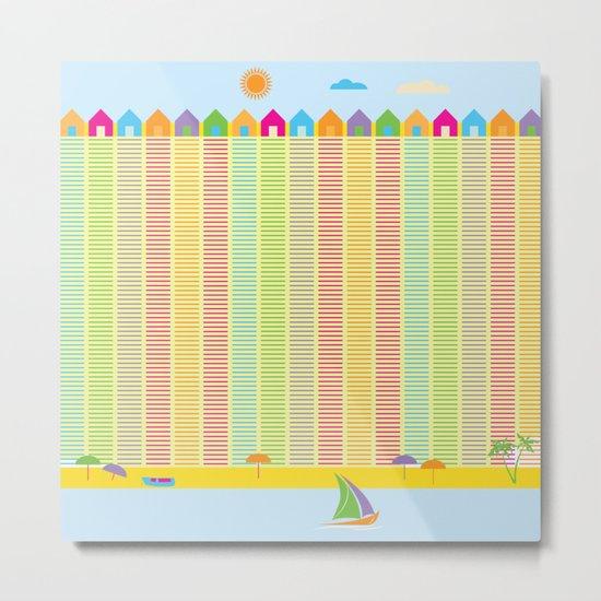 Beach cabins pattern stripes Metal Print