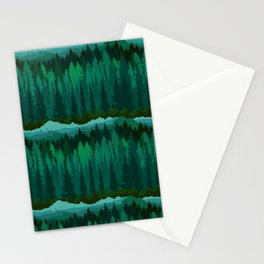 PNW Mountain Landscape in Emerald Green Stationery Cards