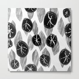Black flower and gray leaves natural seamless pattern Metal Print