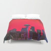 seattle Duvet Covers featuring Seattle. by Polishpattern