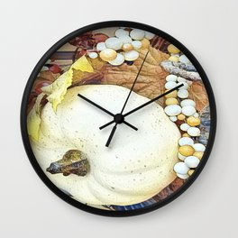 White Pumpkin and Berries Wall Clock