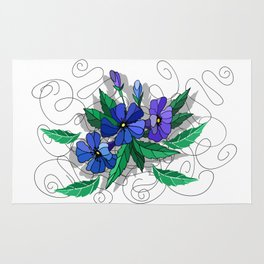 Beautiful abstract flowers in blue colors Rug