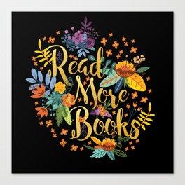 Read More Books - Black Floral Gold Canvas Print