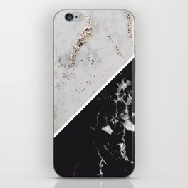 White Glitter Marble Meets Black Marble #1 #decor #art #society6 iPhone Skin