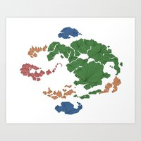 avatar the last airbender Art Prints featuring Avatar the Last Airbender: Map (Fill) by ChemicalCurve