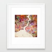 istanbul Framed Art Prints featuring Istanbul by MapMapMaps.Watercolors