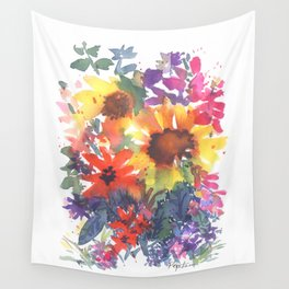Rainy Day Sunflowers Wall Tapestry