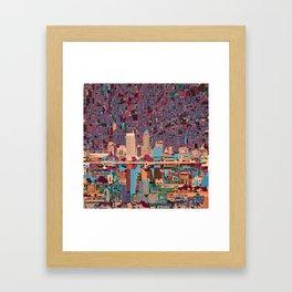 indianapolis city skyline purple Framed Art Print