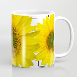 Sunflowers on a squar pattern white background #decor #society6 Coffee Mug