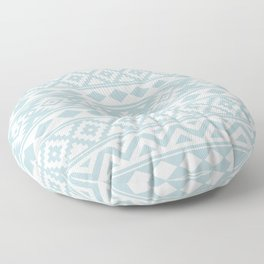 Aztec Essence Ptn IIIb Duck Egg Blue & White Floor Pillow