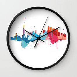 Shanghai Cityscape Watercolor Wall Clock