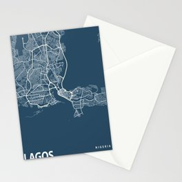 Lagos Blueprint Street Map, Lagos Colour Map Prints Stationery Cards