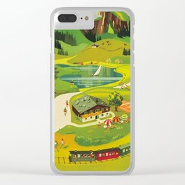 Austria Vintage Mid Century Modern Travel Poster Beautiful Green Mountain Landscape Diagram Clear iPhone Case
