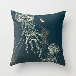 Jellyfish abduction Throw Pillow