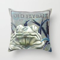 "haunted mansion Throw Pillows featuring Disneyland Haunted Mansion inspired ""Old FlyBait""  by ArtisticAtrocities"