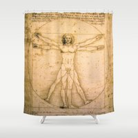 da vinci Shower Curtains featuring Vitruvian Man by Leonardo da Vinci by Palazzo Art Gallery