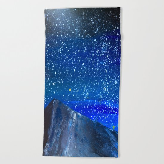 Moon Rising as an orange dot in the Great Sand Dunes National Park, USA travel Beach Towel