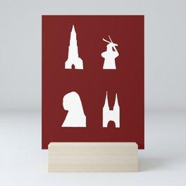 Delft silhouette on red Mini Art Print