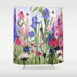 Colorful Garden Flower Acrylic Painting Shower Curtain