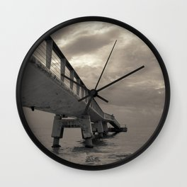 Cloudy Sea Pier Wall Clock