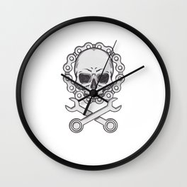 Motocross Motorsport Gift Skull Biker Motorcycle Biker Wall Clock